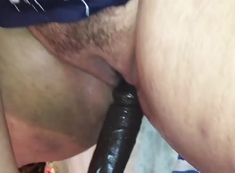 Fucking myself with thick black dildo
