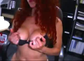 Horny redhead long distance with her man on webcam