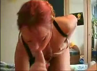 Redhead girlfriend just loves cum from a big dick