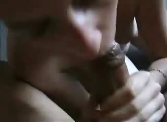 Good girlfriend eats his thick cock