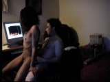 Skinny ebony girlfriend rides her man