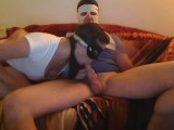 Superheros masked couple play with cam