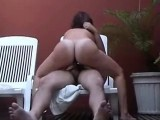 BBW MILF riding on patio