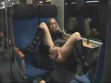 Kinky couple go wild on public train