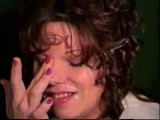 Curly MILF takes a big load all over her face