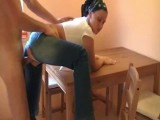 Slut in ripped jeans fucked on the kitchen table