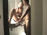 Hot young couple having sex in bathroom