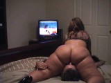 Massive ass wife face sitting and watching cartoons
