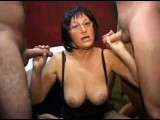 Italian mature swinger gets three cocks