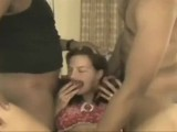 Amateur wife gets oozing black creampie