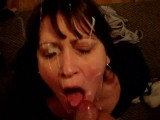 Homemade submissive slave wife facial