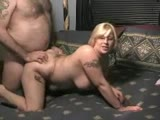 Chubby tramp stamped milf takes cock and cum
