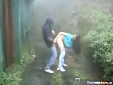 Teen latinos fuck in the rain