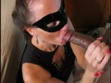 Masked cuckolding wife with black bull 1