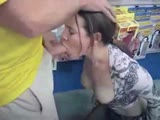 Sucking with facial in a porn store