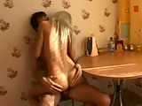 Hot skinny blonde banged in the kitched