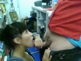 Convenience store blowjob and swallow
