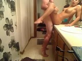 Hot college sex in bathroom