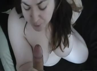 Chubby bbw giving a noisy sloppy blowjob