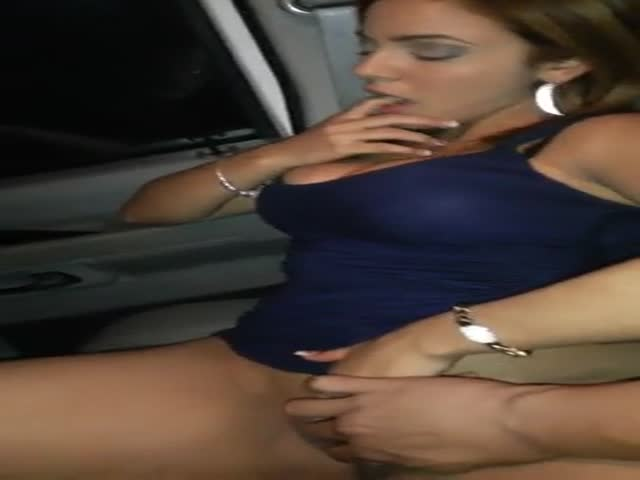 College cutie with epic tits fucks by the car