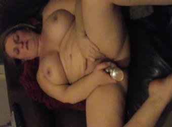 BBW wife playing with toy asks for cock