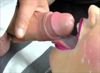 Hot pink lipstick cum in mouth