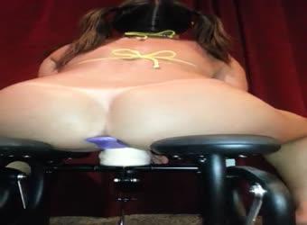 My wife dp on a dildo machine