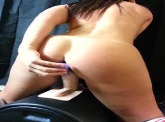 Chubby girlfriend riding a sybian machine