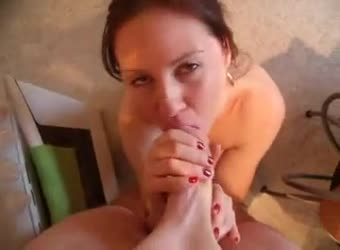 On her knees huge cock blowjob in the kitchen POV