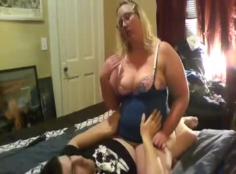Fat blonde chick uses young guy for sex