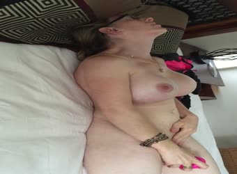 Hot busty wife enjoys her toy