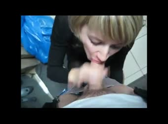German assistant creampie at workplace — 5