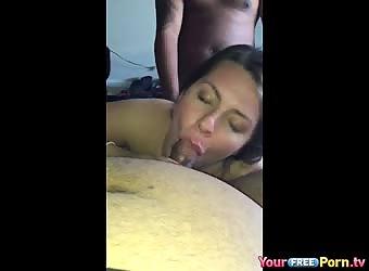 Meaty girlfriend spitroasted by two