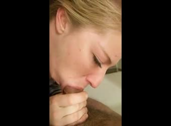 Good girl tries to deepthroat his large cock