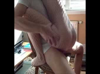 Riding orgasm on chair