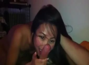 Shared asian with a big white cock