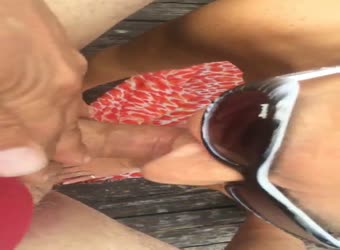 Wife sucks my cock on my birthday outside in State Park