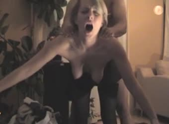 Sexy blonde getting a moaning standing fuck