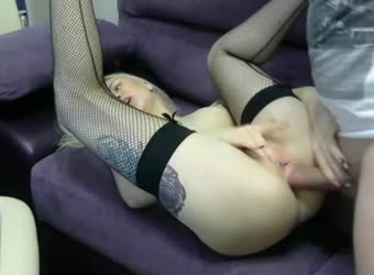 Skinny white girl with nice ass fucked anal on webcam