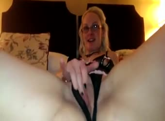 Blonde in glasses plays with her pussy and sucks a lil dick