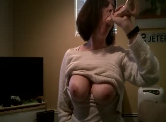 My wifey riding sybian with dildo in her mouth