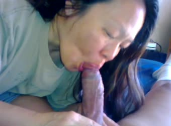 Chinese mature wife sucking big white cock