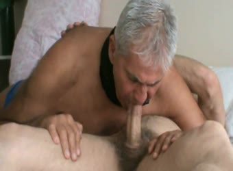 Cum in mature bisexual mouth