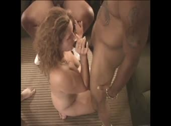 Interracial white wife gangbang