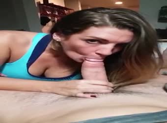 Gorgeous wife gagging blowjob