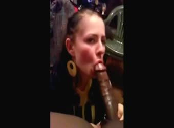 White girl sucking a fully erect huge BBC