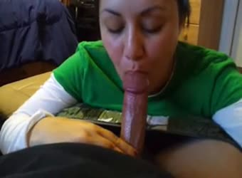 Shy girl sucking cock