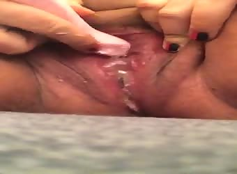After more than 1hr I allowed her to cum