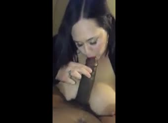 Trophy white wife with huge tits sucking BBC