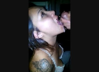 Cum in her mouth sexy tattooed latina